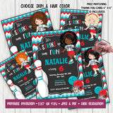 Girl Bowling Party Printable Invitation with FREE Thank you Card-Girl Bowling Birthday Party Printable Invitation-DIY Digital File-Strike Birthday Invitation -You Print