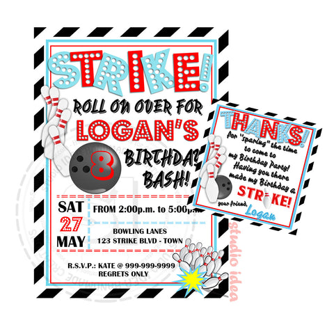 Bowling Party Printable Invitation with FREE Thank you Tag-DIY Digital File-Strike Birthday Invitation -You Print