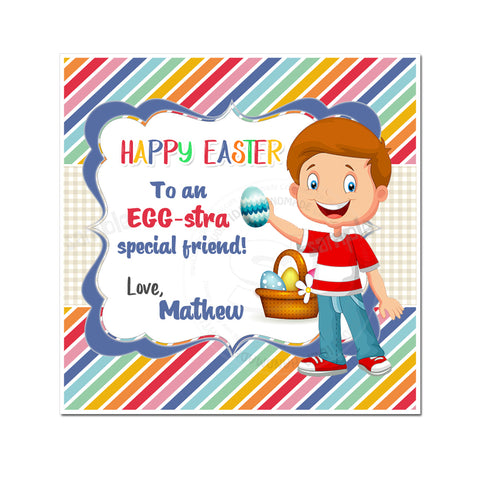 Easter Custom Printable 2.5'' Boys Tags-Personalized Happy Easter 2.5 inches Tags- Party Favor DIY Stickers - Tags -Digital file
