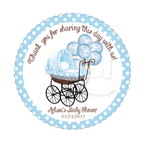photograph about Baby Shower Tags Printable referred to as Customized Boy or girl Stroller with balloons Thank your self Printable 2.5\