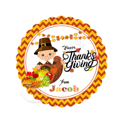Happy Thanksgiving Custom Printable 2.5'' Tags-Personalized Pilgrim Boy Thanksgiving 2.5 inches Tags- Party Favor DIY Stickers - Tags -Digital file