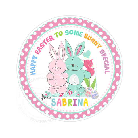 Easter Custom Printable 2.5'' Tags-Personalized Happy Easter-Easter Bunnies- 2.5 inches Tags- Party Favor DIY Stickers - Tags -Digital file