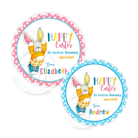 Easter Custom Printable 2.5'' Tags-Personalized Happy Easter-Easter Bunny- 2.5 inches Tags- Party Favor DIY Stickers - Tags -Digital file