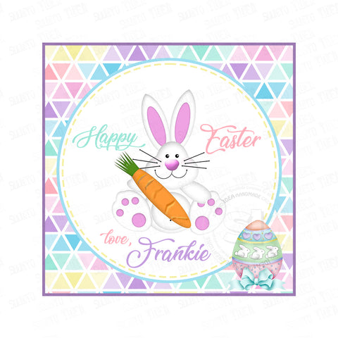 Easter Bunny Custom Printable 2.5'' Tags-Personalized Happy Easter 2.5 inches Tags- Party Favor DIY Stickers - Tags -Digital file