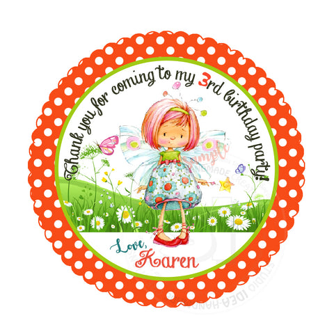 "Fairy Custom Party Printable 2.5"" Tags-Personalized Fairy Butterfly Scallop Personalized Thank you Tags- DIY Stickers, Favor Tags-Digital File"