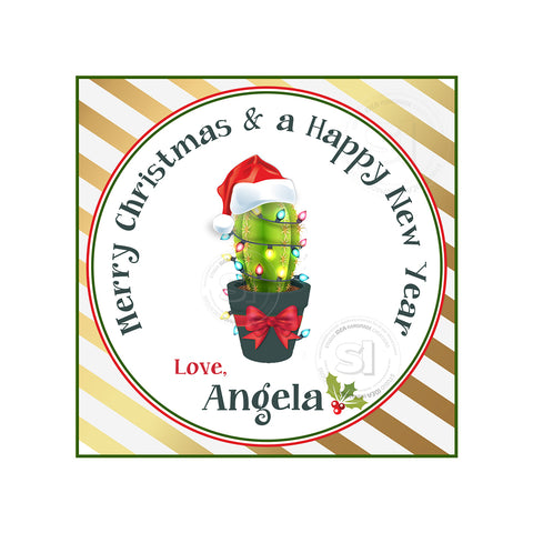"Christmas Cactus Printable 2.5'' Tags-Cactus with Christmas lights and Bow-Christmas Wishes Personalized Tags-DIY (You Print) 2.5"" tags-Digital File"