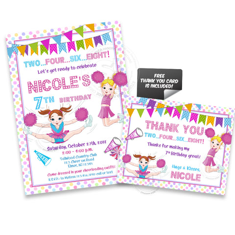 Cheerleaders Birthday Party Printable Invitation with FREE Thank you Card-DIY Digital File-Cheerleaders Birthday Party Invite -You Print