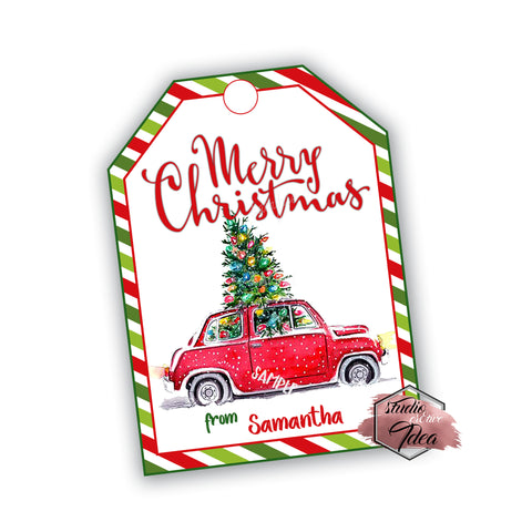Seasons Greetings - Christmas Car Personalized Printable Rectangle Tag- Merry Christmas Tags DIY Favor Tags-Stickers