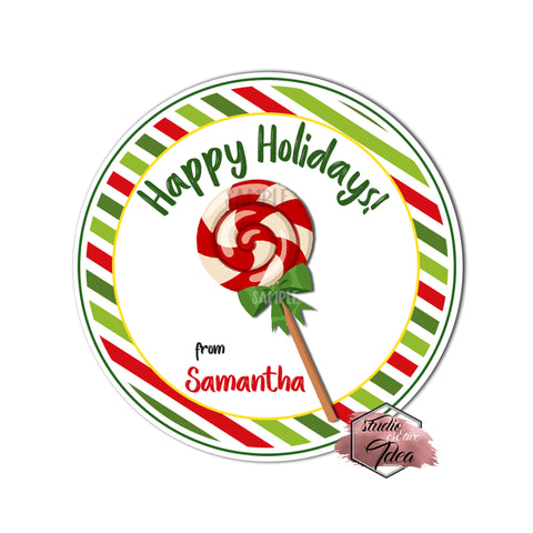 "Christmas tag- Christmas Lollipop-Happy Holidays-Wishes Personalized Printable 2.5"" Tag-Merry Christmas  2.5 inches Circle Tags DIY Favor Tags-Stickers"