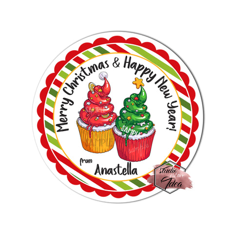 "Christmas Wishes tag- Christmas Cupcakes - Happy Holidays-Wishes Personalized Printable 2.5"" Tag-Merry Christmas  2.5 inches Circle Tags DIY Favor Tags-Stickers"