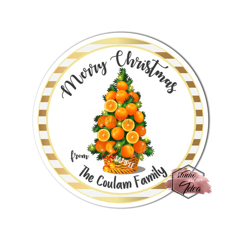 "Custom Christmas Orange Tree Printable 2.5'' Tags-Merry Christmas-Holidays Wishes Personalized Tags-DIY (You Print) 2.5"" tags-Digital File"