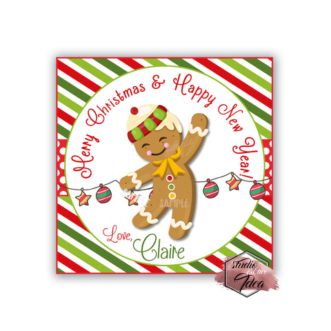 "Christmas Wishes Printable 2.5'' Tags- Gingerbread Cookie Theme Wishes Personalized Tags-DIY (You Print) 2.5"" tags-Digital File"