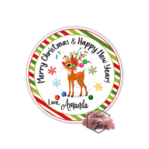 "Christmas Wishes Personalized Printable 2.5"" Tag-Merry Christmas  2.5 inches Circle Tags DIY Favor Tags-Stickers"