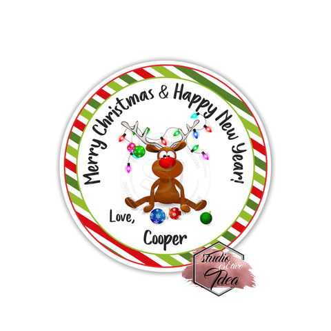 "Christmas Wishes-Cute Deer Personalized Printable 2.5"" Tag-Merry Christmas  2.5 inches Circle Tags DIY Favor Tags-Stickers"