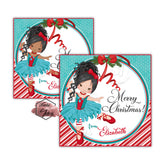 "Custom Christmas Ballerina Printable 2.5'' Tags- Christmas Ballerina Wishes- Christmas Wishes Personalized Tags-DIY (You Print) 2.5"" tags-Digital File"