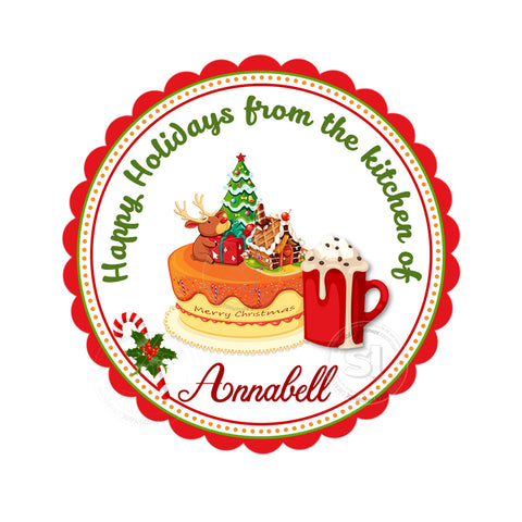 "Christmas tag-From the kitchen of-Happy Holidays-Wishes Personalized Printable 2.5"" Tag-Merry Christmas  2.5 inches Circle Tags DIY Favor Tags-Stickers"