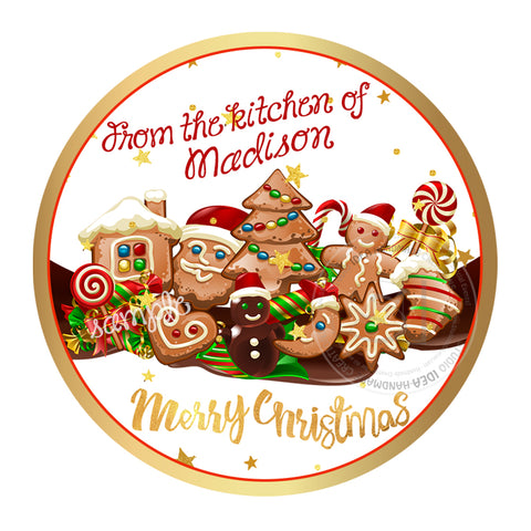 "Christmas Cookies Wishes Personalized Printable 2.5"" Tag-Merry Christmas  2.5 inches Circle Tags DIY Favor Tags-Stickers"