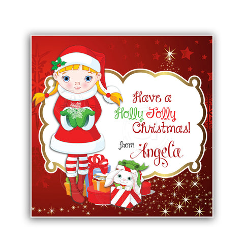 "Custom Christmas Printable 2.5'' Tags-Girl Christmas Wishes Personalized Tags-DIY (You Print) 2.5"" tags-Digital File"