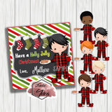 "Custom Christmas Morning Boy Printable 2.5'' Tags- Christmas Wishes- Boy in PJs Personalized Tags-DIY (You Print) 2.5"" tags-Digital File"
