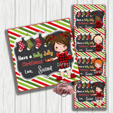 "Custom Christmas Morning Girl Printable 2.5'' Tags- Christmas Wishes- Girl in PJs Personalized Tags-DIY (You Print) 2.5"" tags-Digital File"