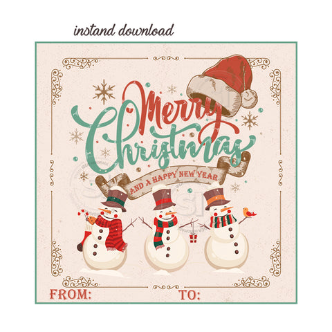 "INSTANT DOWNLOAD- Christmas Wishes-Snowman Vintage Style Printable 2.5"" Tag-Merry Christmas  2.5 inches Square Tags DIY Favor Tags-Stickers-Vintage -Retro Style"