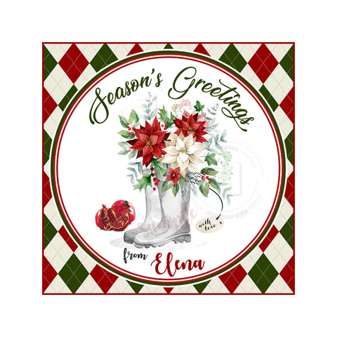 "Custom Christmas Printable 2.5'' Tags-Season's Greetings Personalized Square Tag-DIY (You Print) 2.5"" tags-Digital File"