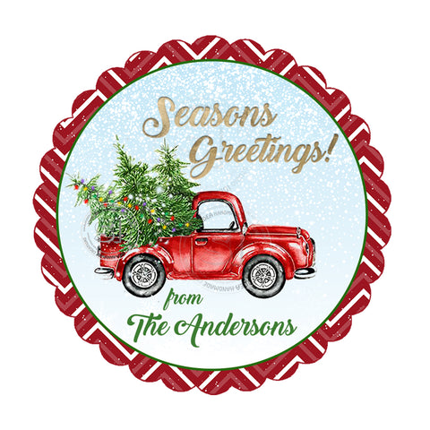 "Seasons Greetings-Christmas Truck with Trees Personalized Printable 2.5"" Tag-Merry Christmas  2.5 inches Circle Tags DIY Favor Tags-Stickers"