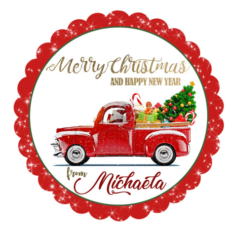 seasons greetings christmas truck personalized printable 25 tag merry christmas 25 inches circle
