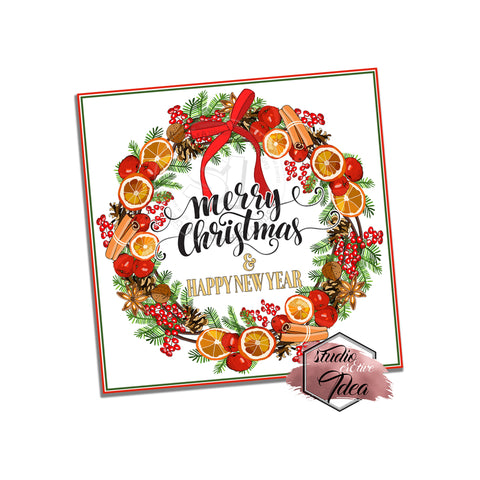 "INSTANT DOWNLOAD- Christmas Wreath -Christmas Wishes Printable 2.5""  Square Tag- DIY Favor Tags-Stickers- Merry Christmas & Happy New Year Tag"