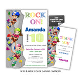 Climbing Birthday Party Printable Invitation With FREE Thank You Card DIY Digital File