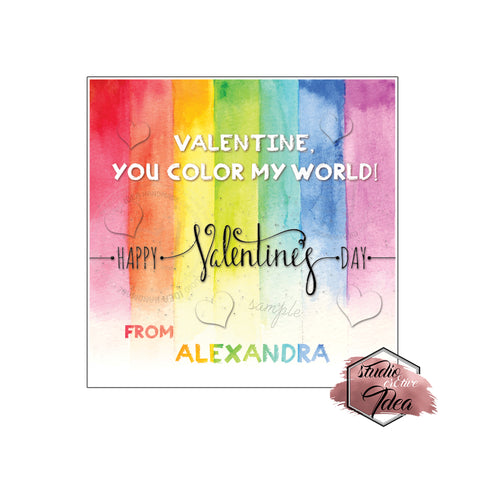 "Valentine's day Custom Printable Tags- 2.5"" Tags-Happy Valentine's Day- Color My World theme- Personalized 2.5 inches Tags- Stickers DIY Favor Tags- Valentine's tag"