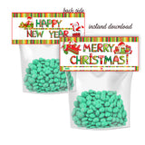 INSTANT DOWNLOAD-Merry Christmas-Happy New Year Customized Printable Bag Toppers-Personalized Holidays Candies bag topper-Party Favor DIY Tags-2 sided sweets bag topper