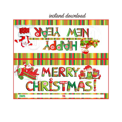 graphic regarding Merry Christmas Printable identify Immediate Down load-Merry Xmas-Delighted Fresh new Calendar year Personalized Printable Bag Toppers-Custom-made Vacations Candies bag topper-Celebration Prefer Do-it-yourself Tags-2 sided