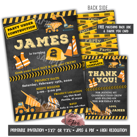 Construction Theme Birthday Party Printable Invitation with FREE Thank you Card and Backside printable -DIY Digital File- Construction Theme Birthday Invitation -You Print