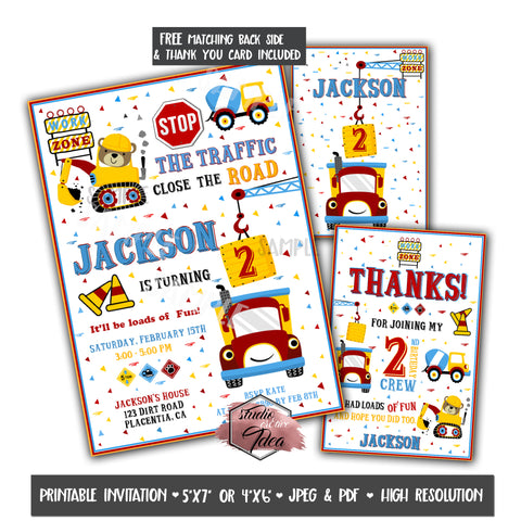 Construction Theme Kids Birthday Party Printable Invitation with FREE Thank you Card and Backside printable -DIY Digital File- Construction Theme Birthday Invitation -You Print