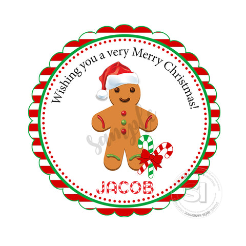 "Custom Christmas Printable 2.5'' Tags-Gingerbread Cookie Christmas Wishes Personalized Tags-DIY (You Print) 2.5"" tags-Digital File"