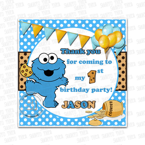 Custom Cookie Monster Birthday Invitation With Free Matching Thank You Tag Printable Sesame Street Invitations Personalized Baby Cookie Monster