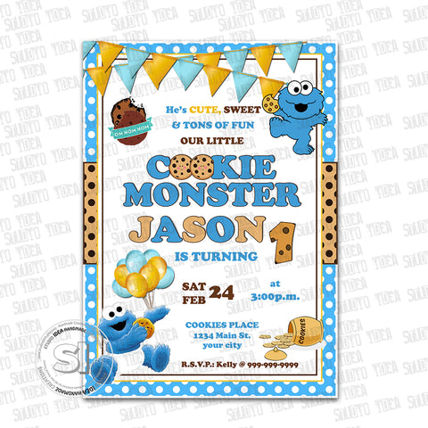 Custom cookie monster birthday invitation with free matching thank custom cookie monster birthday invitation with free matching thank you tag printable sesame street invitations filmwisefo Gallery