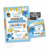 Custom Cookie Monster Birthday Invitation with FREE matching Thank you Tag- Printable Sesame street Invitations-Personalized Baby Cookie Monster Birthday, Baby Shower Thank you Tags-Digital File-YOU PRINT