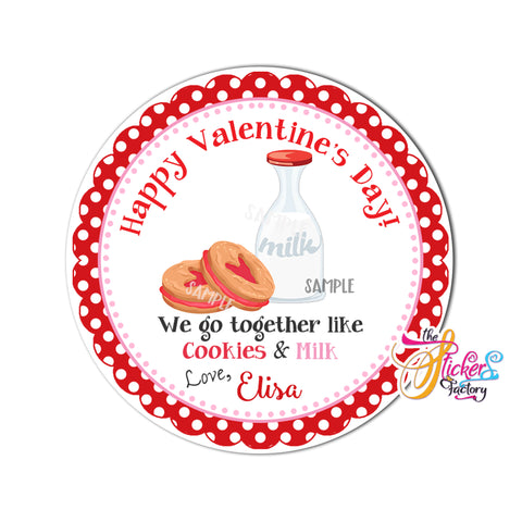 "Copy of Valentine's day Custom Printable Tags- 2.5"" Tags-Happy Valentine's Day -Milk and Cookies-Personalized 2.5 inches Tags- Stickers DIY Favor Tags-cute Valentines tag"
