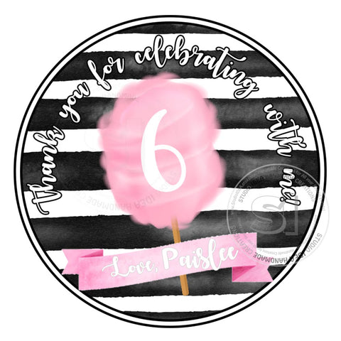 "Custom Cotton Candy Birthday Thank you Printable 2.5"" Tags-Personalized Sweet Birthday 2.5 inches Tags-DIY Favor Tags-Stickers"