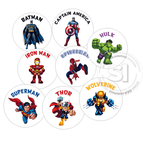 Custom Order for  Gill - Superheroes Cupcake toppers