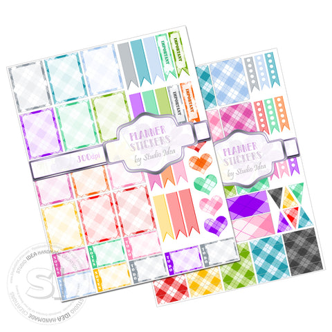 Printable Planner stickers- 300dpi -Colorful Checker Planner Stickers-You Print-Digital files