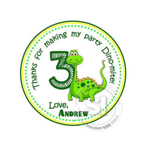 Custom Dinosaur Printable 2.5'' Tags-Personalized Thank you Birthday 2.5 inches Tags- Party Favor  Dinosaur Stickers DIY-Digital file