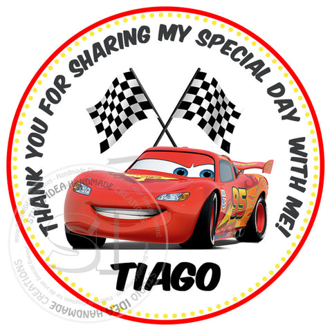 Custom Disney Cars Printable 2.5'' Tags-Personalized Lightning Mcqueen Thank you Birthday 2.5 inches Tags- Party Favor, Stickers DIY-Digital file