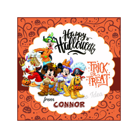 Minnie Mickey and friends-Happy Halloween Custom Printable 2.5'' Tags-Personalized Happy Halloween Disney-2.5 inches Tags- Party Favor DIY Stickers - Tags -Digital file