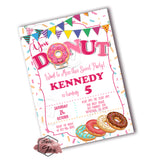 DONUT Birthday Party Printable Invitation with FREE Thank you Card and Backside printable -DIY Digital File- Donuts' Birthday Invitation -You Print