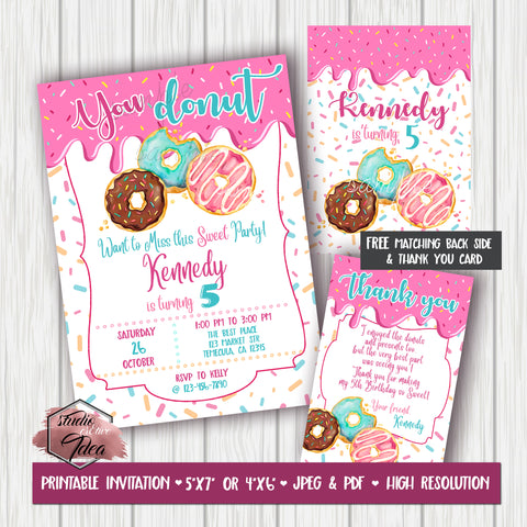 DONUT Theme  Birthday Party Printable Invitation with FREE Thank you Card and Backside printable -DIY Digital File- Donuts' Birthday Invitation -You Print