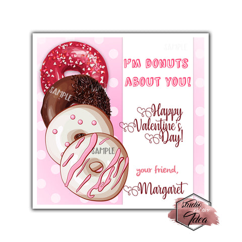 "Valentine's day Custom Printable Tags- 2.5"" Tags-Happy Valentine's Day- Donuts theme- Personalized 2.5 inches Tags- Stickers DIY Favor Tags- Sweet Valentine's tag"
