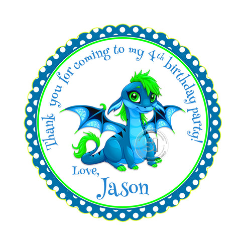 Custom Dragon Printable 2.5'' Tags-Personalized Dinosaur Thank you Birthday 2.5 inches Tags- Party Favor  Dragon Stickers DIY-Digital file